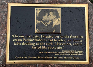 "President Barack Obama & First Lady Receive Kissing Plaque ""I kissed ..."