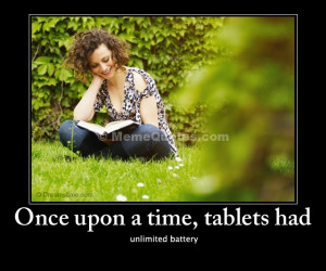 Once upon a time, tablets had unlimited battery. Download Young woman ...
