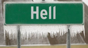 It's so cold that now HELL has frozen over: Michigan town falls victim ...