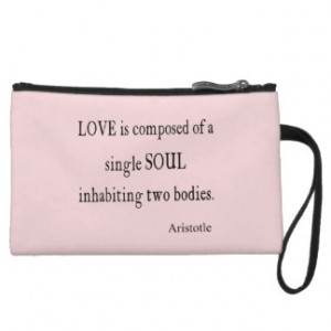 Vintage Aristotle Love Single Soul Pink Quote Wristlet Purses