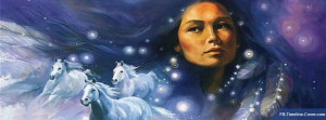 Others : Native American Indian Girl Horses Facebook Timeline Cover