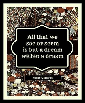 Edgar Allan Poe Dream Quote 8X10 Typography by paperlovespen, $15.00