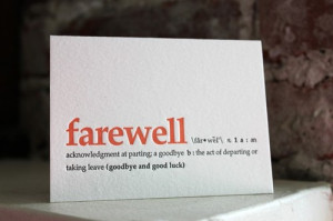 goodbye and good luck. letterpress definition card