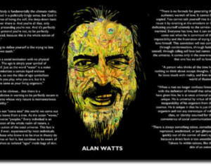 Alan Watts Original Art Print With Quotes - 12x8 Inch Photo Poster ...