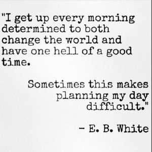 ... the World-Avoid the World; very difficult to plan! E. B. White Quote