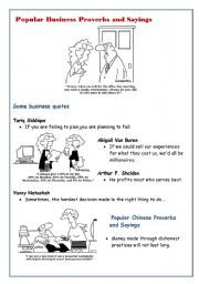 ... Popular business sayings and proverbs: fun with reading activity list