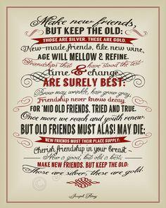 New Friends, Old Friends Joseph Parry Quote - INSTANT DOWNLOAD ...