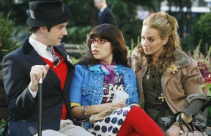 Still of America Ferrera, Becki Newton and Michael Urie in Ugly Betty