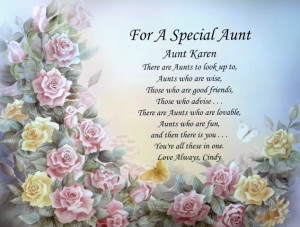 Details about FOR A SPECIAL AUNT PERSONALIZED POEM BIRTHDAY OR ...