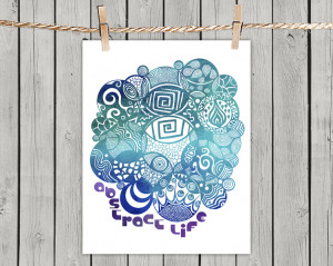 Turquoise Abstract Life - Poster Print 8x10 - of Fine Art illustration ...