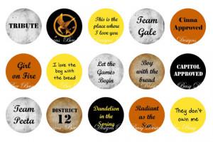 Hunger Games Quotes Bottle Cap Images INSTANT DOWNLOAD