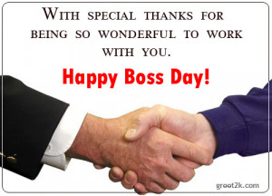 ... Thanks For Being So Wonderful To Work With You, Happy Boss Day