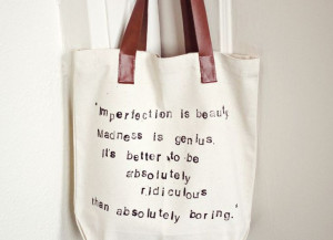 ... say! Boo to boring! Hand Stamped Quote Tote Bag - A Beautiful Mess