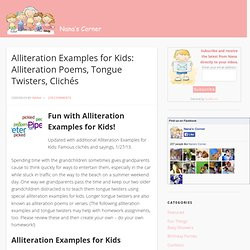 Alliteration Examples for Kids: Alliterations Poems Tongue Twisters ...