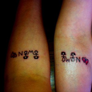 Matching Twin Sister Tattoos Twin sister tattoos :)