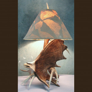 Moose Antler Carved Eagle Table Lamp