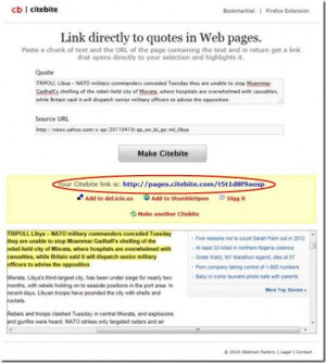 Link Quotes Directly to Web Pages: Citebite