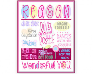 Personalized Name Art Print, Custom Sayings Poster, Personalized Girl ...