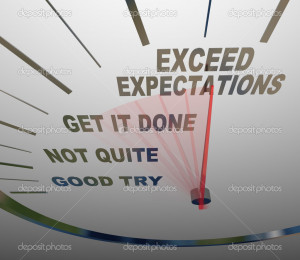 Speedometer - Exceeding Expectations of Your Customers - Stock Image