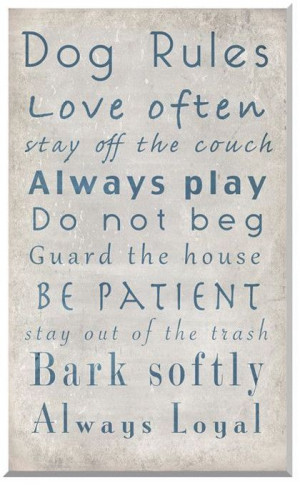 Dog Rules Family Quote Wall Art
