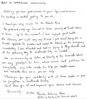 thank you letter from sister rocelia some of you