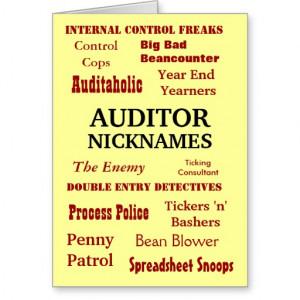 Auditor NICKNAMES - Rude Birthday Card