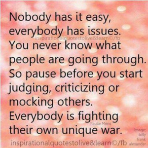 Do not judge or say others thoughts on issues are trivial