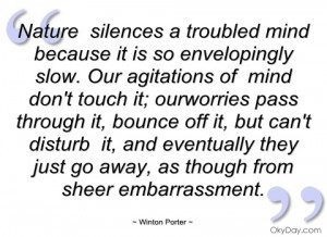 nature silences a troubled mind because it