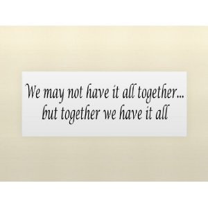 WE MAY NOT HAVE IT ALL TOGETHER...BUT TOGETHER WE HAVE IT ALL Vinyl ...