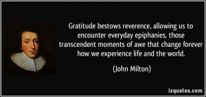 gratitude bestows reverence allowing us to encounter everyday