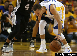 Stephen Curry #30 of the Golden State Warriors hurts his ankle against ...