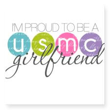 Proud to be a USMC Girlfriend Square Sticker for