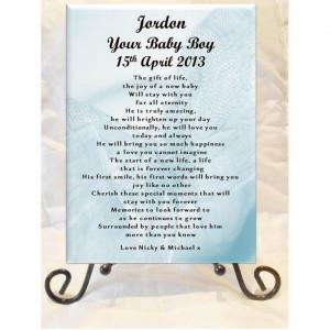 Personalised Ceramic Gloss Plaques - Newborn Baby Boy Poem Gift