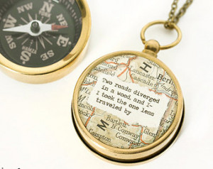 Large Map Compass Necklace with Rob ert Frost or Personalized Quote ...