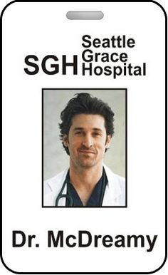Grey's Anatomy Badge Dr McDreamy Seattle Grace by MovieProps, $9.98 ...