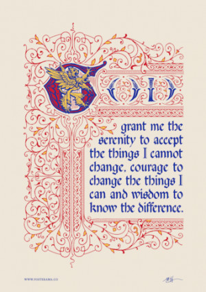 Inspirational quotes: Serenity Prayer typography poster Lion1