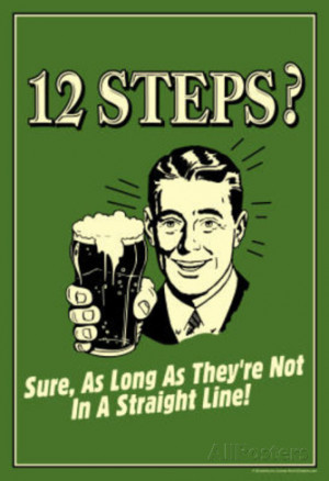 12 Steps Not In A Straight Line Beer Drinking Funny Retro Poster ...
