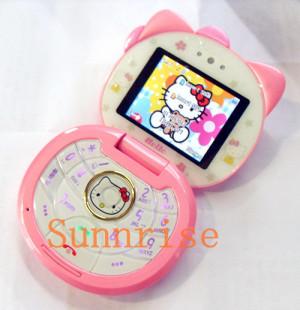 3pcs/lot! 2013 New Hello Kitty Flip Phone Q1 Dual Sim Mobile Phone