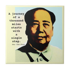 Motivational Mao Tse-Tung Journey Quote Gift Tile