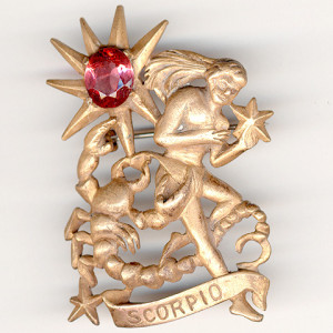 Hattie Carnegie Scorpio Star Sign Pin