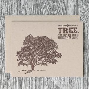 Hand-Drawn Oak Tree with John Muir Quote - Rustic Letterpress Greeting ...