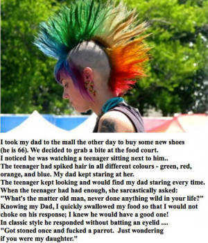 Funny photos funny dad spike hair parrot