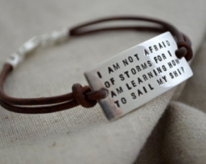 Personalized Quote Bracelet Sterlin g Silver - Leather Cord ...