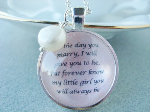 ... daughter on wedding day, daughter bride gift, quote pendant, original