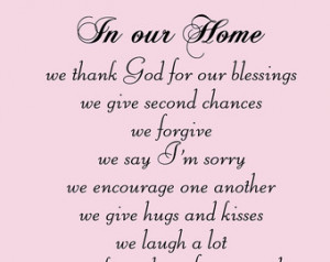 Family Wall Decal Quote 'In Our Home we thank God for our blessings we ...