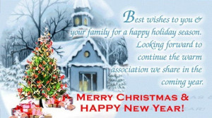 Holiday greetings and best wishes for a New Year of happiness in a ...