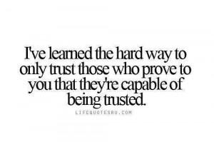 Exactly, trust is earned