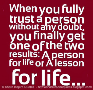 results a person for life or a lesson for life