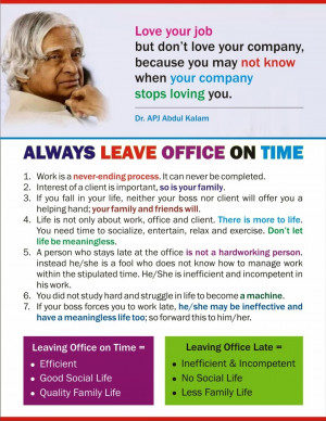 leaving office on time