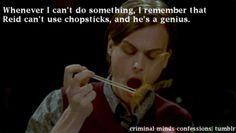Reid can't use chopsticks. More